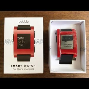 NEW PEBBLE SMART WATCH RED IPHONE OR ANDROID!!